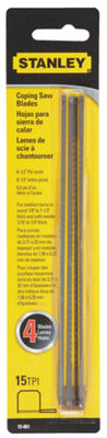 "Stanley Hand Tools 15-061 6-1/2"" 15 TPI Coping SawBlades 4 Pack"