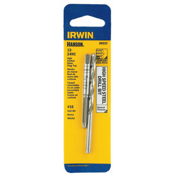 Irwin Hanson 80222 #16 12-24Nc High Speed Steel Drill Bit & Tap