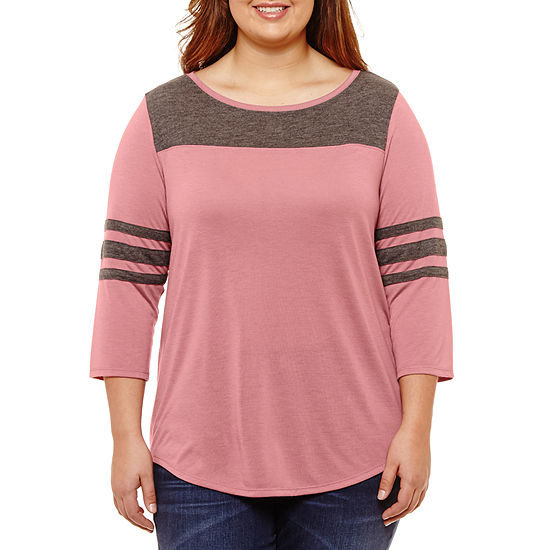 City Streets-Womens Round Neck 3/4 Sleeve T-Shirt Juniors Plus