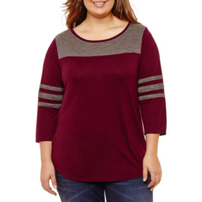 City Streets 3/4 Sleeve Round Neck T-Shirt-Womens Juniors Plus