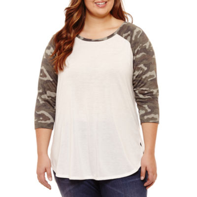 City Streets 3/4 Sleeve Raglan T-Shirt- Juniors Plus