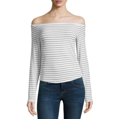 Arizona Long Sleeve Off The Shoulder Knit Blouse-Juniors