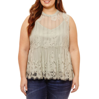 Arizona Lace Tank Top-Juniors Plus