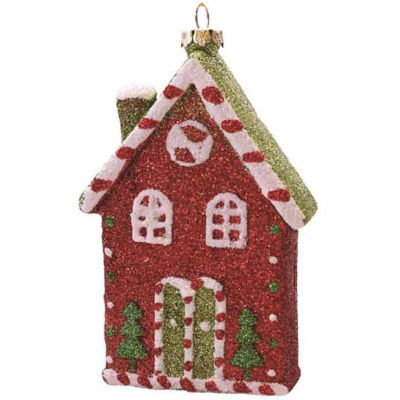 """4.5"""" Merry & Bright Red  White and Green Glitter Shatterproof Candy House Christmas Ornament"""""""