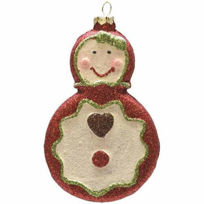 "4.5"" Merry & Bright Red  White and Green Glittered Shatterproof Gingerbread Girl Christmas Ornament"""
