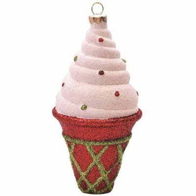 """5"""" Merry & Bright Red  White and Green Glitter Shatterproof Ice Cream Cone Christmas Ornament"""""""