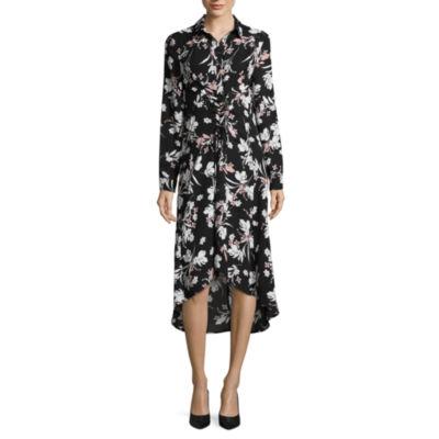 Worthington Long Sleeve Floral Corset Maxi Dress