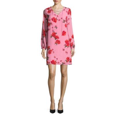Worthington Long Sleeve Floral Lace Up Shift Dress