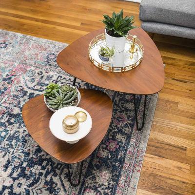 Hairpin Leg Wood Nesting Coffee Table Set
