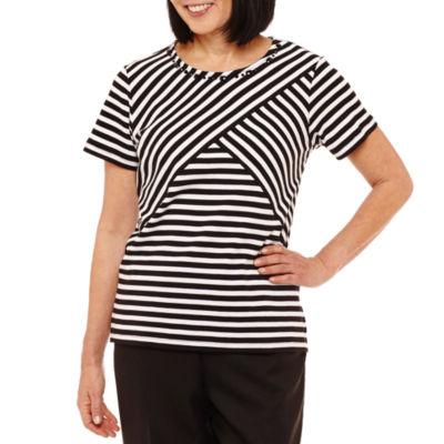 Alfred Dunner Classics Short Sleeve Crew Neck Stripe T-Shirt-Womens