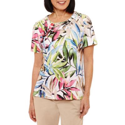 Alfred Dunner Classics Short Sleeve Crew Neck Floral T-Shirt-Womens