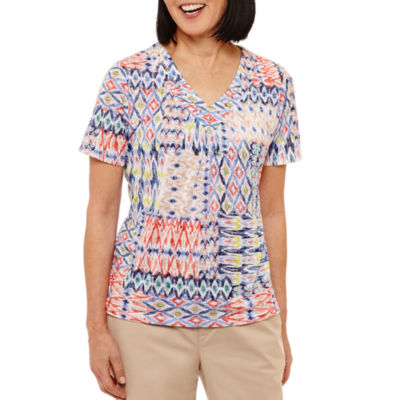 Alfred Dunner Classics Short Sleeve V Neck Patchwork T-Shirt-Womens