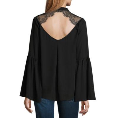 Belle + Sky Long Sleeve Lace Back Surplice Top