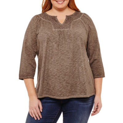 St. John's Bay® 3/4 Sleeve Garment Wash Split Neck Tee-Plus