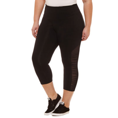 Xersion Studio High Waist Ruched Mesh Side Capri - Plus