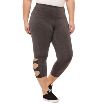 Xersion Skinny Leg Studio High Waist Cut Out Capri - Plus