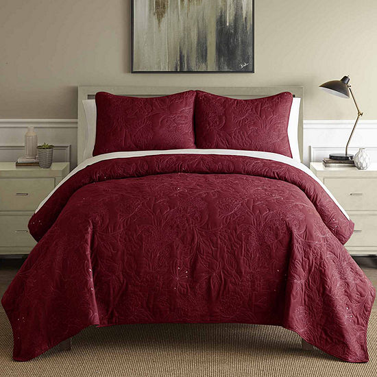 Pacific Coast Textiles Embroidered 3-pc. Embroidered Quilt Set