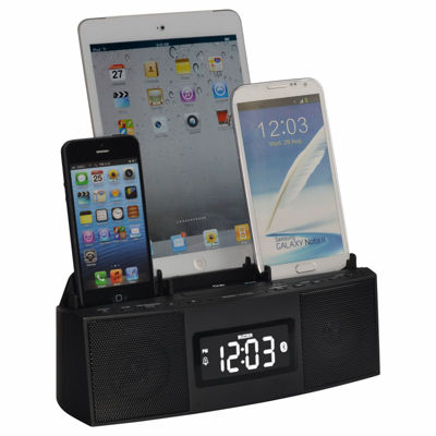 DOK 3 Port Smart Phone Charger with Speaker Phone(Bluetooth) Alarm Clock FM Radio