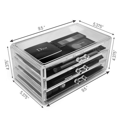 Sorbus Acrylic Cosmetics Makeup and Jewelry Storage Case Display- 3 Large Drawers