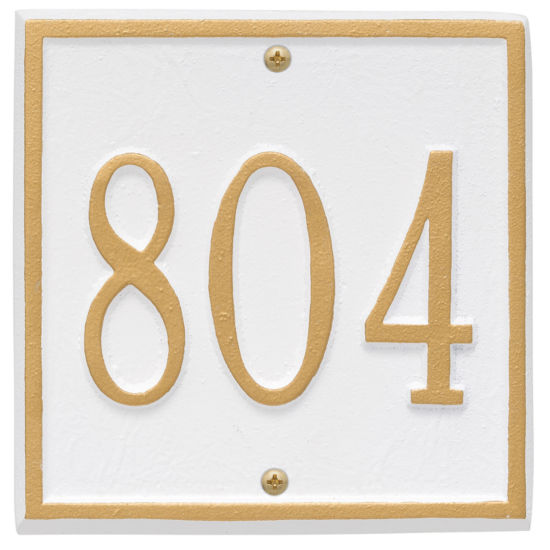 Whitehall Personalized Square Address Plaque -Petite - Wall-  1 Line