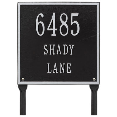 Whitehall Personalized Square Standard Lawn Address Plaque - 3 Line