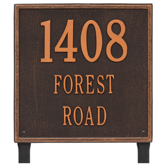 Whitehall Personalized Square Estate Lawn Address Plaque - 3 Line