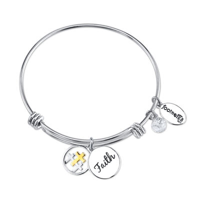Footnotes Womens Clear Silver Over Brass Bangle Bracelet