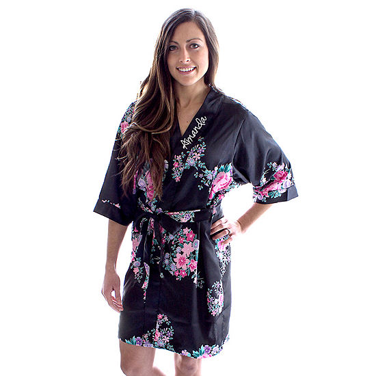 Cathy's Concepts Personalized Floral Satin Womens Satin Kimono Robes
