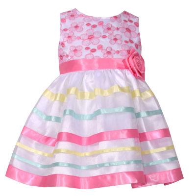 Bonnie Jean Sleeveless Pink Ribbon Dress - Baby Girls