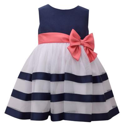 Bonnie Jean Sleeveless Navy Ribbon Dress - Baby Girls