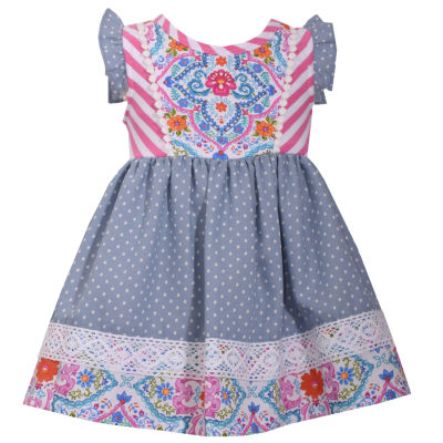 Bonnie Jean Short Sleeve Print to Chambray Dot Dress - Baby Girls