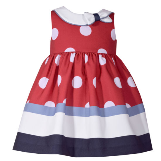 Bonnie Jean Sleeveless Dot Stripe Dress - Baby Girls