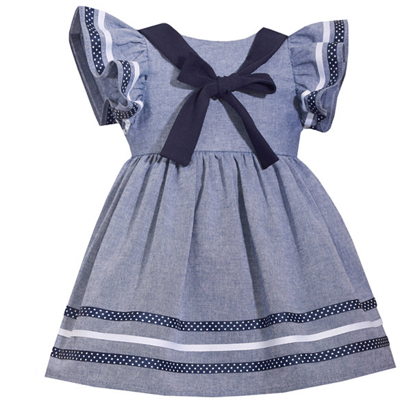 Bonnie Jean Short Sleeve Nautical Chambray Dress - Baby Girls