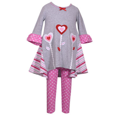 Bonnie Jean 2-pc.Long Sleeve Heart Flowers With Pink Dot Legging Set-Baby Girls