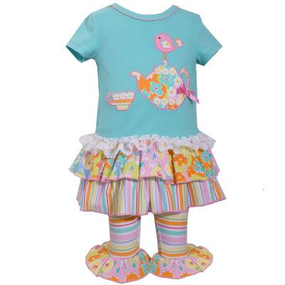 Bonnie Jean 2-pc.Short Sleeve Tea Pot Bird Floral Ruflle Pant Set Baby Girls