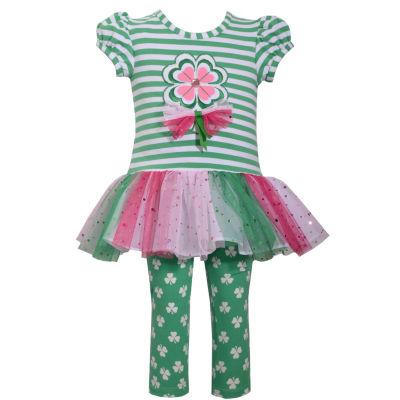 Bonnie Jean  Clover Tu Tu Stripe Leg 2-pack Pant Set Baby Girls