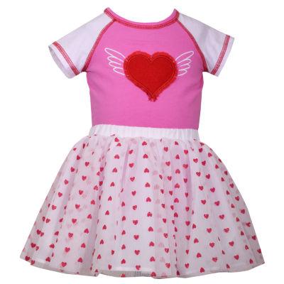 Bonnie Jean 2-pc Heart Bodysuit with Heart Print Tutu Set Baby Girls