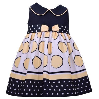 Bonnie Jean Sleeveless Bow Front Dot Dress - Baby Girls