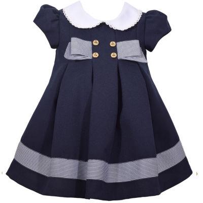 Bonnie Jean Short Sleeve Navy Bow Dress - Baby Girls