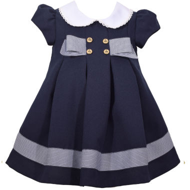 Bonnie Jean Short Sleeve Navy Bow Dress Baby Girls JCPenney
