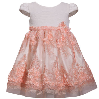 Bonnie Jean Short Sleeve Knit Embroidered Dress - Baby Girls