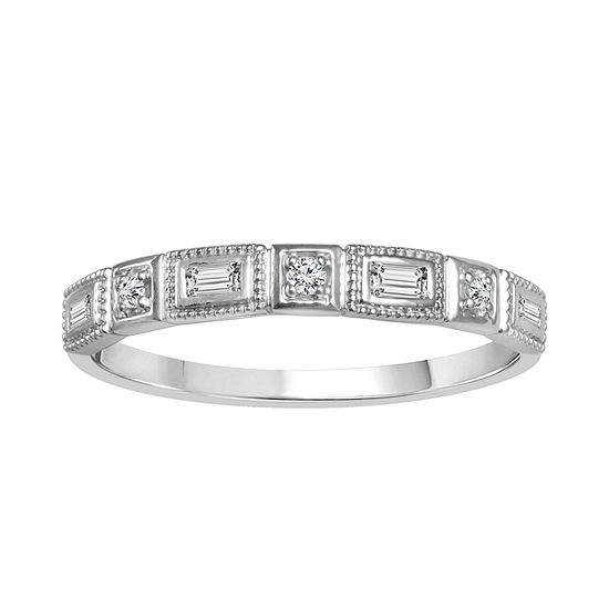 Womens 1/8 CT. T.W. Genuine White Diamond 10K White Gold Wedding Band