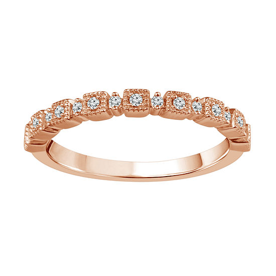Diamond Accent Genuine White Diamond 10K Rose Gold Wedding Band