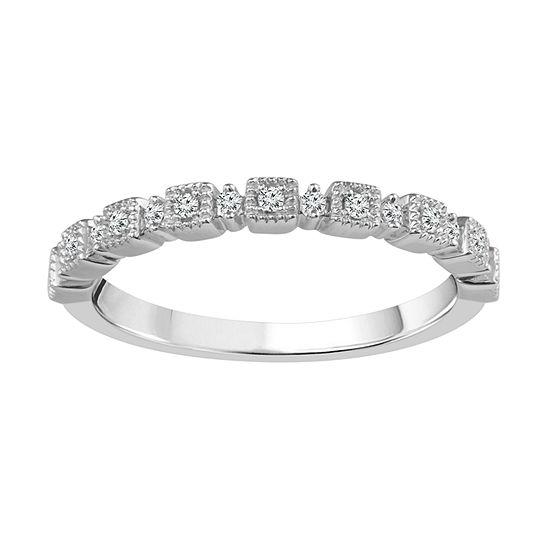 Diamond Accent Genuine White Diamond 10k White Gold Wedding Band