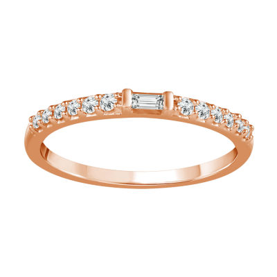 1/6 CT. T.W. Genuine White Diamond 10K Rose Gold Stackable Ring
