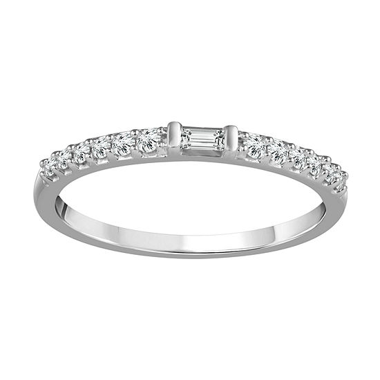 Womens 1/6 CT. T.W. Genuine White Diamond 10K White Gold Wedding Band