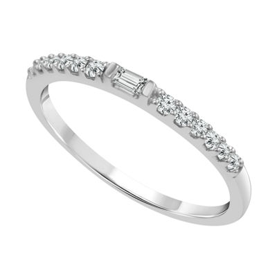 1/6 CT. T.W. Genuine White Diamond 10K White Gold Stackable Ring