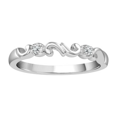 Diamond Accent Genuine White Diamond 10K White Gold Wedding Band