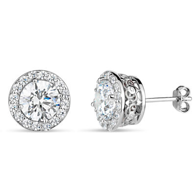 Sterling Silver Halo Filligree Sides Stud Earrings featuring Swarovski Zirconia