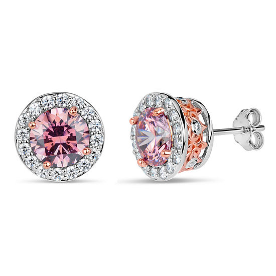 Sterling Silver Two-Tone Halo Filligree Sides Stud Earrings featuring Swarovski Zirconia